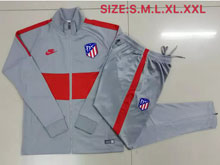 Mens 19-20 Soccer Atletico De Madrid Club Gray And Red Training And Gray And Red Sweat Pants Training Suit ( Long Zipper )
