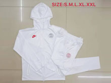 Mens Jordan 19-20 Soccer Paris Saint Germain White Wind Coat And White Sweat Pants Training Suit ( Zipper )