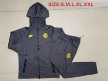 Mens 19-20 Soccer Inter Milan Club Black Jacket And Black Sweat Pants Training Suit ( Long Zipper )
