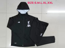 Mens 19-20 Soccer Liverpool Club Black Jacket And Black Sweat Pants Training Suit ( Long Zipper )