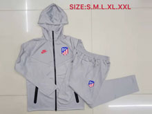 Mens 19-20 Soccer Atletico De Madrid Club Gray Training And Gray Sweat Pants Training Suit ( Long Zipper )