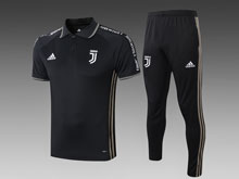 Mens 19-20 Soccer Juventus Club Earthy Black Short Sleeves And Black Sweat Pants Training Suit ( Polo )