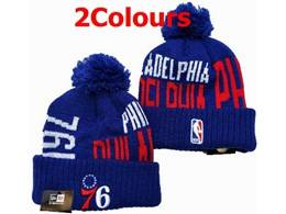 Mens Nba Philadelphia 76ers Blue&red&gray Sport Knit Hats 2 Colors