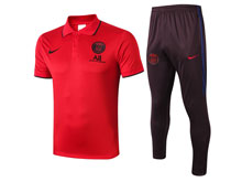 Mens 19-20 Soccer Paris Saint Germain Red Polo Shirt And Wine Red Sweat Sweat Pants Training Suit ( Turn-down Collar )