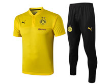 Mens Soccer Borussia Dortmund Club Yellow Polo Shirt And Black Sweat Pants Training Suit ( Turn-down Collar )