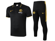 Mens 19-20 Soccer Inter Milan Club Black Polo Shirt And Black Sweat Pants Training Suit ( Turn-down Collar )