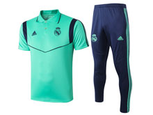 Mens 19-20 Soccer Real Madrid Club Green Polo Shirt And Blue Sweat Pants Training Suit ( Turn-down Collar )