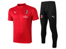 Mens 19-20 Soccer Ac Milan Club Red Polo Shirt And Royal Black Sweat Pants Training Suit