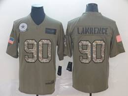 Mens Nfl Dallas Cowboys #90 Demarcus Lawrence 2019 Green Olive Camo Salute To Service Nike Limited Jersey