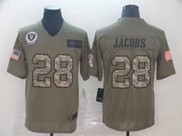 Mens Nfl Oakland Raiders #28 Josh Jacobs 2019 Green Olive Camo Salute To Service Nike Limited Jersey