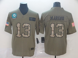 Mens Miami Dolphins #13 Dan Marino 2019 Green Olive Camo Salute To Service Nike Limited Jersey