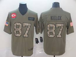 Mens Nfl Kansas City Chiefs #87 Travis Kelce 2019 Green Olive Camo Salute To Service Nike Limited Jersey