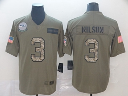 Mens Nfl Seattle Seahawks #3 Russell Wilson 2019 Green Olive Camo Salute To Service Nike Limited Jersey
