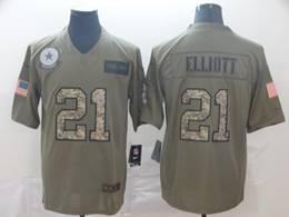 Mens Nfl Dallas Cowboys #21 Ezekiel Elliott 2019 Green Olive Camo Salute To Service Nike Limited Jersey