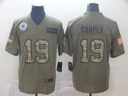 Mens Nfl Dallas Cowboys #19 Trysten Hill 2019 Green Olive Camo Salute To Service Nike Limited Jersey