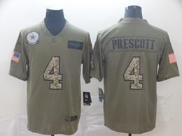 Mens Nfl Dallas Cowboys #4 Dak Prescott 2019 Green Olive Camo Salute To Service Nike Limited Jersey