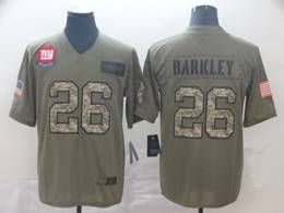Mens Nfl New York Giants #26 Saquon Barkley 2019 Green Olive Camo Salute To Service Nike Limited Jersey
