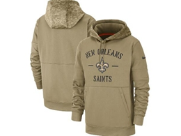 Mens Nfl New Orleans Saints Nike Tan 2019 Salute To Service Sideline Therma Pocket Pullover Hoodie