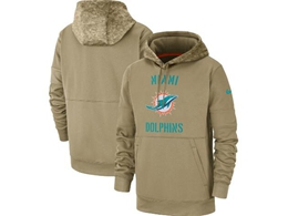 Mens Nfl Miami Dolphins Nike Tan 2019 Salute To Service Sideline Therma Pocket Pullover Hoodie
