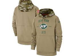 Mens Nfl New York Jets Nike Tan 2019 Salute To Service Sideline Therma Pocket Pullover Hoodie
