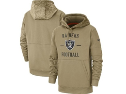 Mens Nfl Oakland Raiders Nike Tan 2019 Salute To Service Sideline Therma Pocket Pullover Hoodie