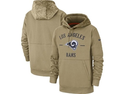 Mens Nfl Los Angeles Rams Nike Tan 2019 Salute To Service Sideline Therma Pocket Pullover Hoodie