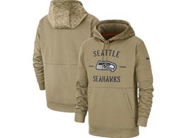 Mens Nfl Seattle Seahawks Nike Tan 2019 Salute To Service Sideline Therma Pocket Pullover Hoodie