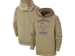 Mens Nfl Minnesota Vikings Nike Tan 2019 Salute To Service Sideline Therma Pocket Pullover Hoodie