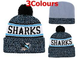 Mens Nhl San Jose Sharks Blue&white Sport Knit Hats 3 Colors