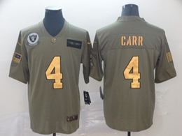 Mens Nfl Oakland Raiders #4 Derek Carr 2019 Green Olive Gold Number Salute To Service Limited Jersey