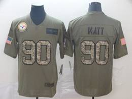 Mens Nfl Pittsburgh Steelers #90 T. J. Watt 2019 Green Olive Camo Salute To Service Nike Limited Jersey