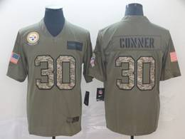 Mens Nfl Pittsburgh Steelers #30 James Conner 2019 Green Olive Camo Salute To Service Nike Limited Jersey