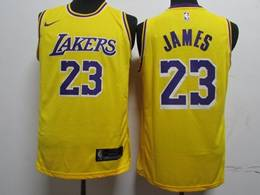 Mens Nba Los Angeles Lakers #23 Lebron James Yellow Hot Pressing New Nike Jersey