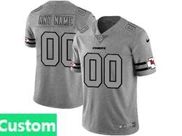 Mens Nfl Kansas City Chiefs Custom Made Heather Grey 2019 New Vapor Untouchable Limited Jersey