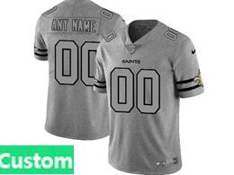 Mens Nfl New Orleans Saints Custom Made Heather Grey 2019 New Vapor Untouchable Limited Jersey