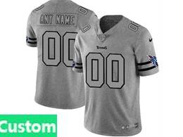 Mens Nfl Tennessee Titans Custom Made Heather Grey 2019 New Vapor Untouchable Limited Jersey