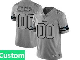 Mens Nfl Carolina Panthers Custom Made Heather Grey Retro Vapor Untouchable Limited Jersey