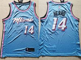 Mens 2019 Nba Miami Heat #14 Tyler Herro Light Blue City Edition Nike Swingman Jersey