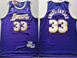 Mens Nba Los Angeles Lakers #33 Kareem Abdul-jabbar Purple Adidas Hardwood Classics Swingman Jersey