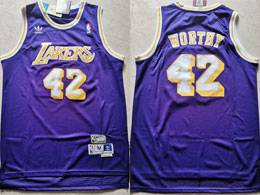 Mens Nba Los Angeles Lakers #42 James Worthy Purple Adidas Hardwood Classics Swingman Jersey