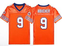 Mens Nfl #9 Bobby Boucher The Waterboy Adam Sandler Movie Stitched Orange Football Jersey