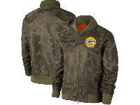 Women  Nfl Green Bay Packers Nike Olive 2019 Salute To Service Full-zip Bomber Camo Jacket