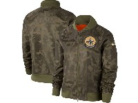 Women Nfl New Orleans Saints Nike Olive 2019 Salute To Service Full-zip Bomber Camo Jacket