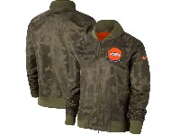 Women Nfl Denver Broncos Nike Olive 2019 Salute To Service Full-zip Bomber Camo Jacket