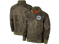 Women Nfl Seattle Seahawks Nike Olive 2019 Salute To Service Full-zip Bomber Camo Jacket