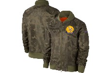 Women Nfl Minnesota Vikings Nike Olive 2019 Salute To Service Full-zip Bomber Camo Jacket