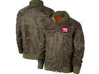 Women Nfl New York Giants Nike Olive 2019 Salute To Service Full-zip Bomber Camo Jacket