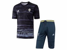 Mens 19-20 Soccer Juventus Club Black Polo Shirt And Black Shorts Pants Training Suit ( Printing )