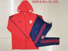 Mens 19-20 Soccer Arsenal Club Red Jacket And Blue Sweat Pants Training Training Suit ( Long Zipper )