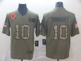 Mens Nfl Chicago Bears #10 Mitchell Trubisky 2019 Green Olive Camo Salute To Service Nike Limited Jersey